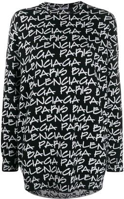 Balenciaga Paris jacquard print jumper
