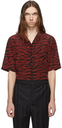 Saint Laurent Red and Black Zebra Silk Shark Collar Shirt