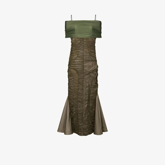 Richard Malone Off-The-Shoulder Ruched Midi Dress