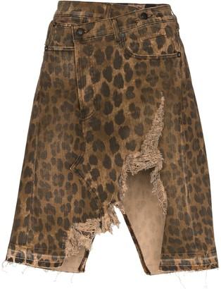 R 13 Norbury distressed leopard-print denim skirt
