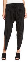 Haute Hippie Shirred Drawstring Harem Pants, Black