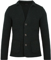 THE GIGI Jude point-collar ribbed-knit wool cardigan