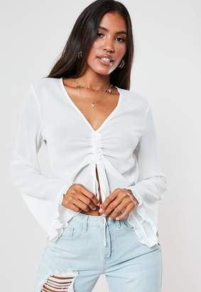 Missguided White Ruched Front Long Sleeve Blouse