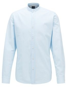 HUGO BOSS Regular Fit Shirt In Mini Structured Stripe With Stand Collar - Light Blue