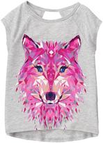 Gymboree Heather Gray & Fuchsia Wolf Graphic Active Tee - Girls