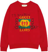 Gucci Printed Cotton-jersey Sweatshirt - Red