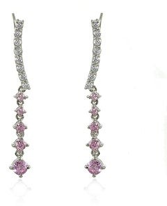Icz Stonez Sterling Silver Round-cut Colored Cubic Zirconia Dangle Climbing Crawler Earrings