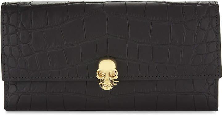 Alexander McQueen Skull croc-embossed leather wallet