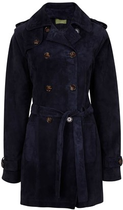 Zut London Suede Leather Short Trench Coat - Navy