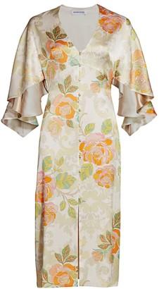 Adriana Iglesias Victoria Floral Jacquard Stretch Silk Dress