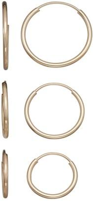 Taylor Grace 10k White Gold 3-Pair Endless Hoop Earring Set