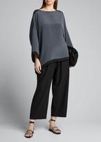 eskandar Silk Bateau-Neck 3/4-Sleeve Tunic