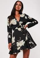 Missguided Black Floral Ruffle Hem Tea Dress