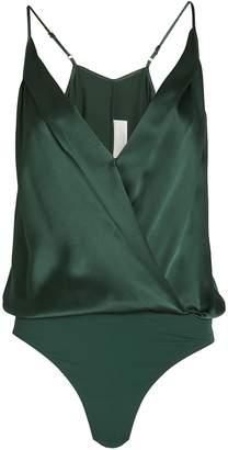 Mason by Michelle Mason Silk Charmeuse Wrap Bodysuit