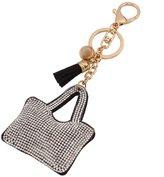 QIYUN.Z Faux Rhinestone Leather Bags Pendant Key Chain Alloy Keyfob Keyrings Porte-cles