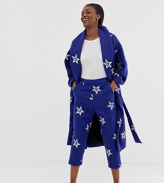 ASOS MADE IN KENYA star embroidered relaxed trousers in wool mix