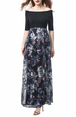 Kimi and Kai Mabel Off the Shoulder Maternity Maxi Dress