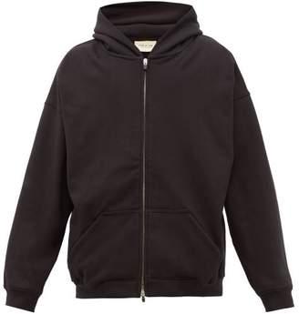Fear Of God Logo Plaque Zip Through Cotton Hooded Sweatshirt - Mens - Black