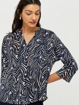 Monsoon Lois Linen Printed Long Sleeve Top - Navy