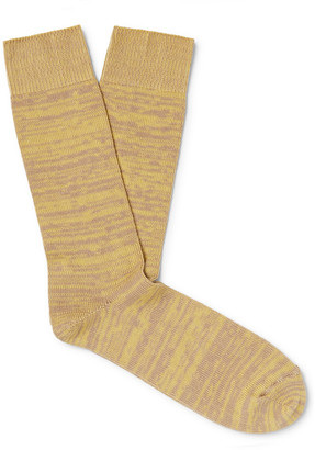 The Workers Club - Melange Cotton-Blend Socks - Men - Yellow