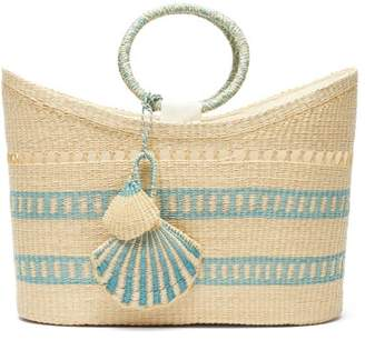 Sensi Studio - Seashell-charm Woven-straw Tote - Womens - Blue Multi