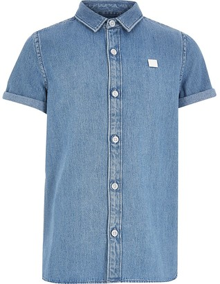 River Island Boys blue Maison Riviera denim shirt