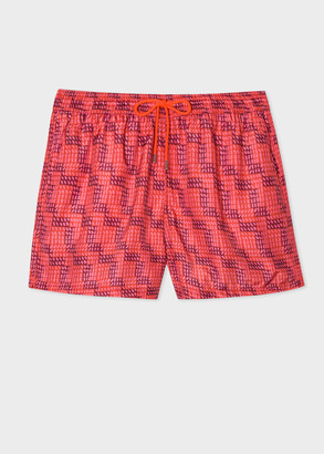 Paul Smith Men's Pink Geometric Print Swim Shorts