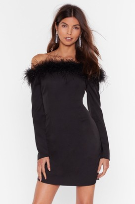 Nasty Gal Womens Don't Ruffle My Feathers Off-the-Shoulder Dress - black - 6