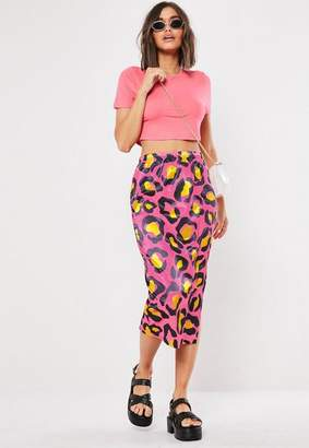 Missguided Pink Leopard Print Slip Skirt