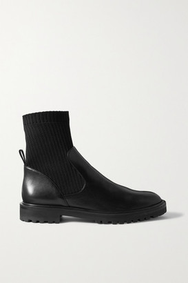 PORTE & PAIRE Leather And Ribbed-knit Ankle Boots - Black