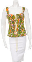 Dolce & Gabbana Printed Lace-Up Top w/ Tags