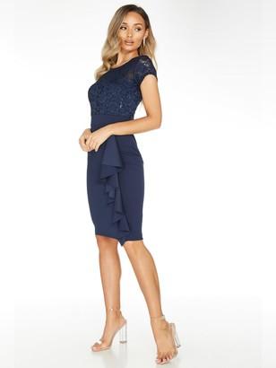 Quiz Navy Lace Sweetheart Neck Cap Sleeve Midi Dress With Scuba Crepe Skirt