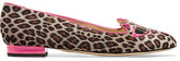 Charlotte Olympia Barbie® Kitty Embroidered Leopard-print Velvet Slippers - Leopard print
