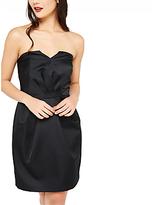 Miss Selfridge Satin Bandeau Dress, Black