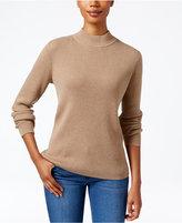 Karen Scott Ribbed Mock-Neck Sweater, Only at Macy's
