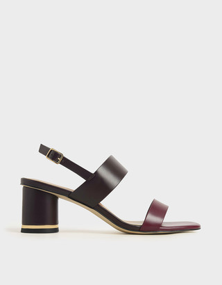 Charles & Keith Two-Tone Cylindrical Heel Sandals