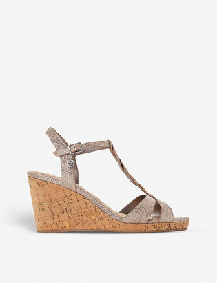 Dune Koala plait T-bar leather wedge sandals