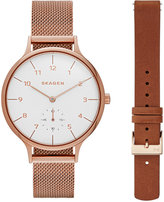 Skagen Women's Chronograph Rose Gold-Tone Stainless Steel Mesh Bracelet Watch & Interchangeable Strap 30mm SKW1079