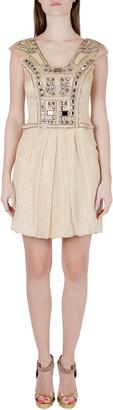 Carolina Herrera Carolina Herera Beige Plisse Crepe Embellished Tulle Cap Sleeve Dress S