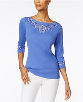 Karen Scott Embroidered Boat-Neck Top, Only at Macy's