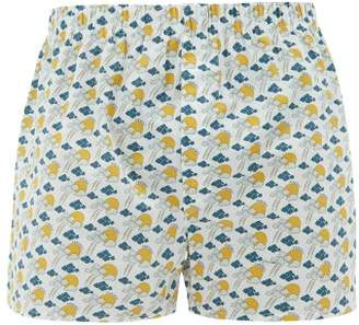 Sunspel Cloud And Sun Print Cotton Boxer Shorts - Mens - White Multi