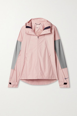 Nike Flash Hooded Mesh And Reflective-trimmed Ripstop Jacket - Blush