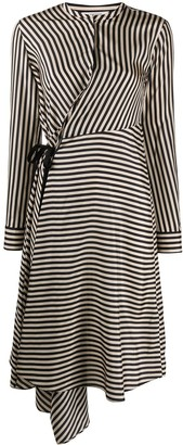Dorothee Schumacher Silk Striped Asymmetrical Wrap Dress