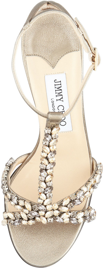 Jimmy Choo Tarot Crystal-Metallic Strap Sandals