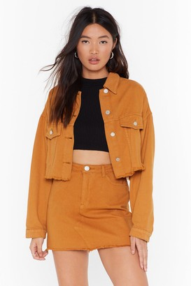 Nasty Gal Womens When All is Shred and Done Distressed Denim Jacket - Mustard
