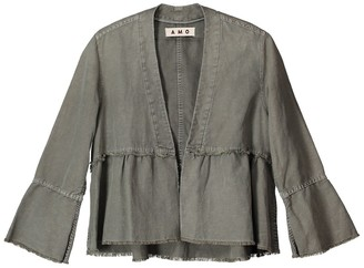 Amo Bell Sleeve Frayed Hem Linen Blend Jacket