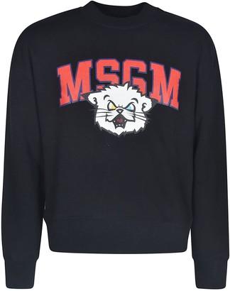 MSGM Ribbed Logo Printed Sweatshirt