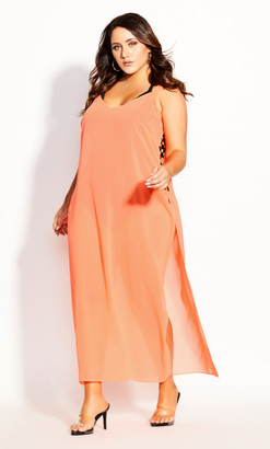City Chic Miami Maxi Dress - neon pink