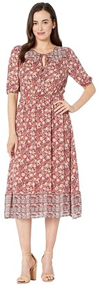 Lucky Brand Printed Peasant Dress (Red Multi) Women's Dress