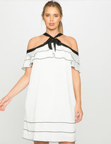 ELOQUII Plus Size Off the Shoulder Ruffle Dress